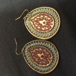 Gold/teal/Purple flat earrings.